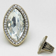 Statement HUGE Gold Vintage Clear Crystal Stretch Cocktail Ring Rocks Boutique
