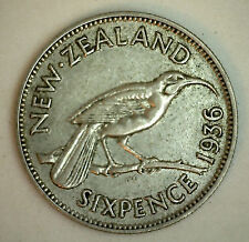 1936 Silver New Zealand Six Pence 6 Pence Coin XF
