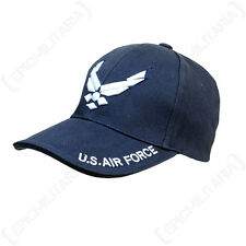 BLUE US AIRFORCE BASEBALL CAP - Peaked Sun Hat Military Style American Wings
