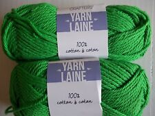 Needle Crafters 100% cotton yarn, Garden Grove (green), lot of 2 (80 yds each)