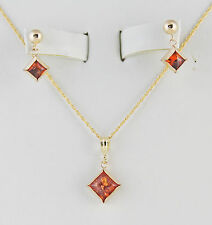 "Baltic Amber Square 8mm Necklace & 6mm  Earring Set 16"" Chain 14K Gold Filled"