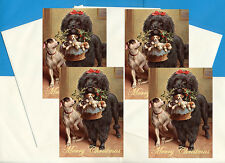 POODLE & FOX TERRIER PUPS PACK OF 4 CARDS DOG PRINT GREETING CHRISTMAS CARDS