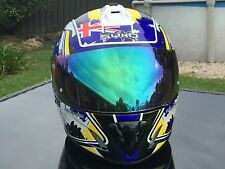 L Large Patriot Australian Flag Motorbike Full Face Helmet Blue Iridium Visor