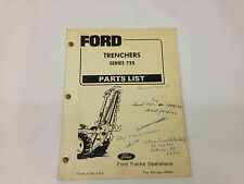 Ford Tractor Series 725 Trenchers Parts List Manual