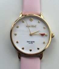 Women's Kate Spade RARE BIRDS Metro Watch KSW1255 Gold/ Pink Leather Strap