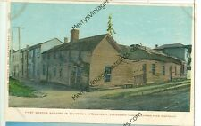 CALIFORNIA, MONTEREY FIRST WOOD BUILDING IN CALIFORNIA LITHO POSTCARD (CA-M)
