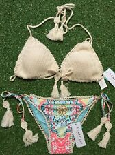 New Seafolly Gypsy Summer Crochet Tri & Marrakech Brazilian Pant - Size AU12/M
