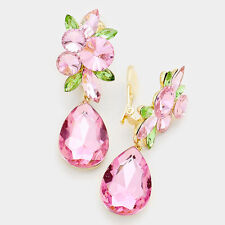 LUSH Gold Pink & Peridot Big Crystal CLIP ON Cocktail Earrings By Rocks Boutique
