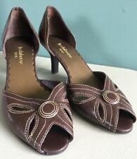 Liz Claiborne Flex Women Brown Open Toe Kitten Heel Shoes Size 7M Leather Retro