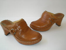 FRYE AMERICAN ORIGINAL TAN LEATHER HARNESS CLOGS SIZE US 6 NICE MADE IN BRAZIL