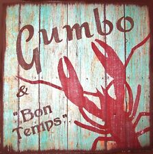 Gumbo & Good Times Crawfish Primitive Country Wood Sign Home Decor
