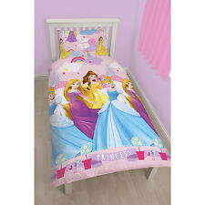 NEW OFFICIAL Disney Princess Girls Kids Single Bed Duvet Cover & Pillow Case Set