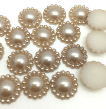 New 100PCS Half Pearl Bead flower 8MM DIY Scrapbook for Craft Flatback Coffee E