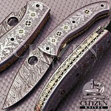 BEAUTIFUL CUSTOM HAND MADE DAMASCUS STEEL FOLDING POCKET KNIFE HANDLE STEEL