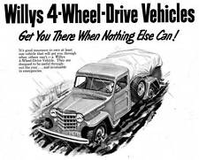 Old Print.   1953 Willys Jeeps Auto Ad