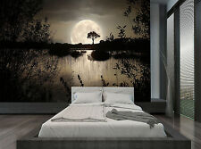 Forest Night Trees Water Moon Dark Wall Mural Photo Wallpaper GIANT WALL DECOR