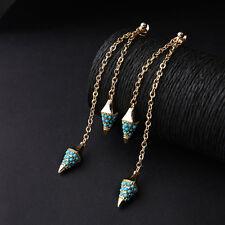 Boucles d`Oreilles Clips Doré Pique Mini Perle Turquoise Bleu Fin Class B10