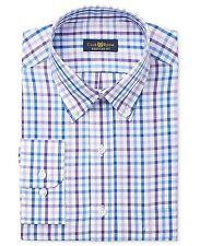 $85 CLUB ROOM Men REGULAR FIT BLUE PURPLE PLAID CASUAL DRESS SHIRT 17.5 36/37 XL