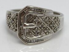STERLING SILVER GENUINE DIAMOND BUCKLE RING SIZE 7
