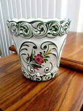 Hand Painted Tin Glazed Earthenware Majolica Flower Pot, Portugal,Signed, 5-5/8""