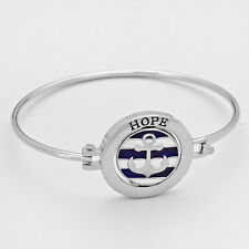 Anchor Hinge Bangle Bracelet Hope Never Give Up SILVER Nautical Message Jewelry
