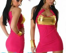 SeXy Gogo Dress Ketten Neckholder Mini Kleid 34/36/38 Freesize pink gold TOP NEU