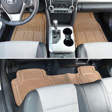 Beige All Weather Rubber Floor Mats Liner Set - 3 Piece Interior Gift Set