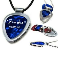 PICKBAY Guitar pick Holder Pendant w black leather necklace for HIM or HER gift