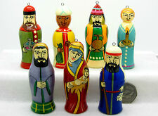 Russian HAND MADE doll set 7 Christmas Tree ORNAMENTS Nativity Mary Jesus Angel