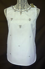 NWT J. CREW JEWELED COTTON SHELL FACETED GLASS CRYSTALS WHITE SIZE 6 Retail $138