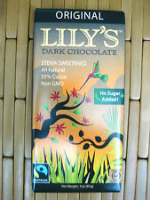 NEW Lily's LILYS All Natural Dark Chocolate 3 oz.Bar Stevia Sweetened, 55% cocoa