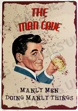 New Vintage Style Retro Metal Wall Sign MANLY MAN Cave A5 Garage Pub Bar Plaque