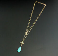 14K Gold Plated double-deck Four Leaf Clover  turquoise Pendent necklace