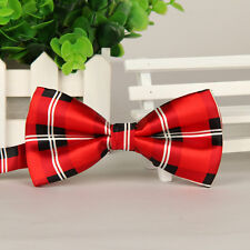 Hot Red Plaid Check Mens Party Necktie Tuxedo Wedding Bow Ties Adjustable Bowtie