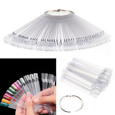 50 X Nail Art Tips Colour Pop Sticks Display Fan Practice Starter Ring Clear DIY