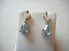 Sterling Silver GF White Blue Topaz Dangle Earrings   225504