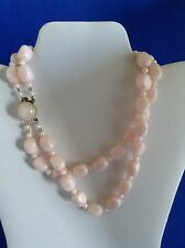 Vintage Pale Pink Double Strand Square Bead Plastic Choker Necklace West Germany