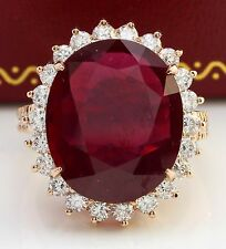 16.50CTW Natural Red Ruby and DIAMOND in 14K Solid Rose Gold Women Ring