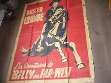 AFFICHE POSTER  BUSTER CRABBE DANS LES AVENTURES DE BILLY AU FAR WEST 1940