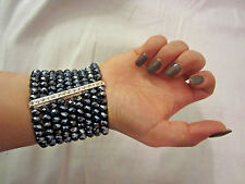 NinE Strand Petrol Black Faceted Glass Bead Clear Crystal Wide Stretch Bracelet
