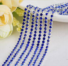 2mm Cystal Rhinestone Close Cup Chain Trimming Claw Chain Royal blue 1yd