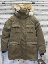 New NOBIS CINDY Women's Coat Jacket - Small S Crosshatch Army Green