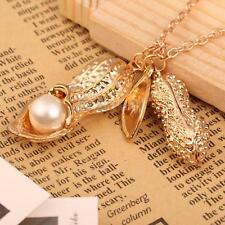 New Fashion Korean Women Peanut Pendant with Pearl Sweater Chain Necklace Gift