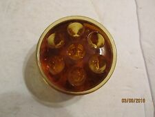 "Vintage Amber Glass Flower Frog 2 1/4"" Dia with 7 Holes"