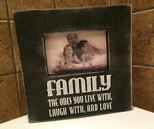 Wood Chalk Box Picture Frame Family The Ones You Live With  Laugh With And Love