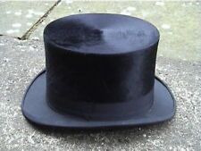 Very Large Size Antique Black Silk Top Hat Sz 7½