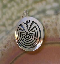 Large Augustine Mowa Hopi Sterling Overlay Pendant Man Maze signed