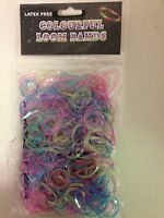 600 Glitter Jelly Coloured Loom Rubber Bands with S Clips & Hook Tool Latex Free