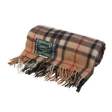 75% WOOL SCOTTISH TWEED TARTAN RUG / BLANKET / THROW - THOMSON CAMEL
