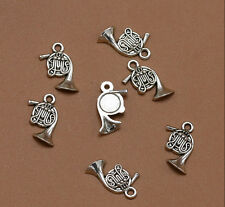 25pcs Retro Antique Silver French Horn Bugle Alloy Speaker Charm Pendant Jewelry